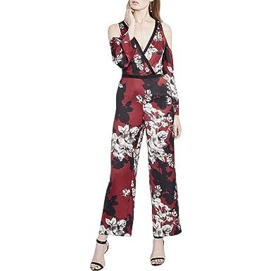 69950304b53 Amazon.com  RACHEL Rachel Roy Womens Floral Print Cold Shoulder Jumpsuit  Purple 8  Clothing