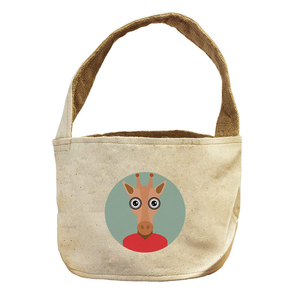 Head in Circle Deer with Horns Animals Canvas and Burlap Storage Basket