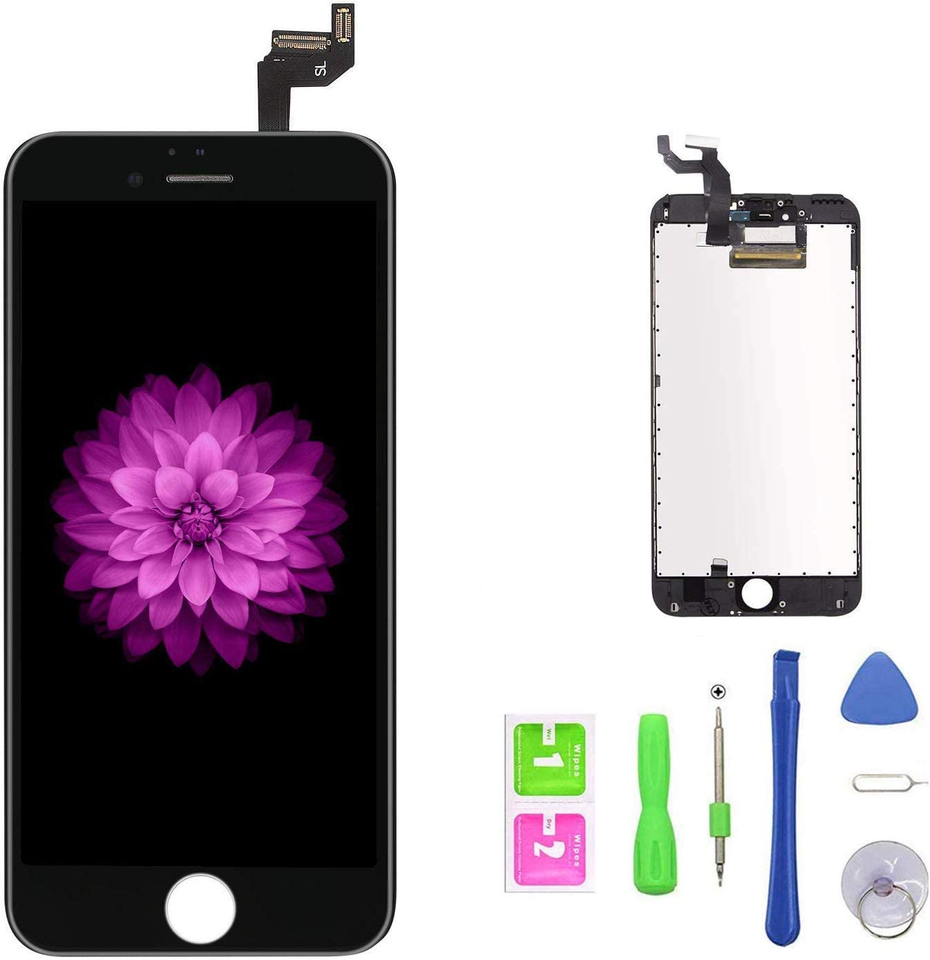 "FFtopu Compatible with iPhone 6s Plus Screen Replacement Black, FFtopu LCD Display 3D Touch Screen Digitizer Replacement Frame Cell Assembly Set with Free Repair Tools(5.5"")"