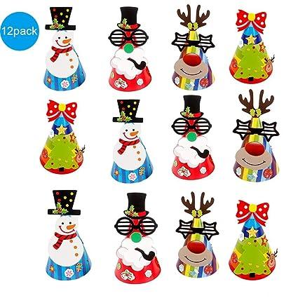 istary 12pcs Navidad Niño Papel pintor Tapa DIY Fiesta Papel Sombreros Para Carnaval Fiesta de cumpleaños