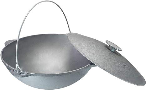 Olla giratoria Kazan de 18 litros, para camping, de hierro fundido con asa y tapa + cuchara de cocina para cocinar