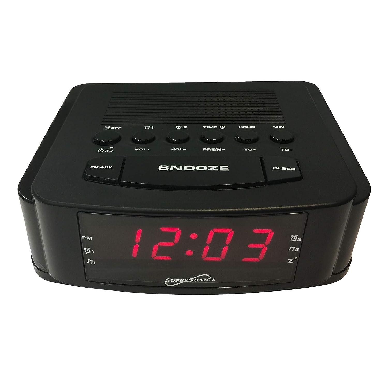 Supersonic SC‑382U Dual Alarm Clock Radio with USB Charging Port