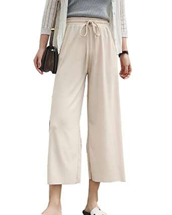 LaoZanA Weite Hosen Damen Sommerhosen Elegante Hohe Taille Dünne  Freizeithose Lockere Hose - Aprikose - XL 0860f86481