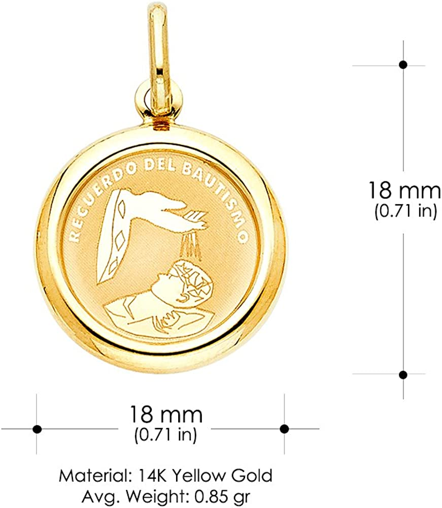 14K Yellow Gold Religious Baptism Charm Pendant with 1.2mm Box Chain Necklace