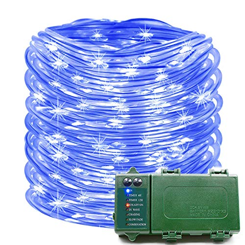 KOMOON  Rope Lights 39 Ft 120 LED Battery Operated String Lights Waterproof Christmas Decorative Fairy Lights for Patio Garden Party Yard Holiday Wedding (Blue)