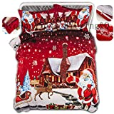 Home4Joys Merry Christmas Bedding Sets Red Xmas Duvet Cover with Pillows Case(2PCS) Twin Size Bed Comforters Covers