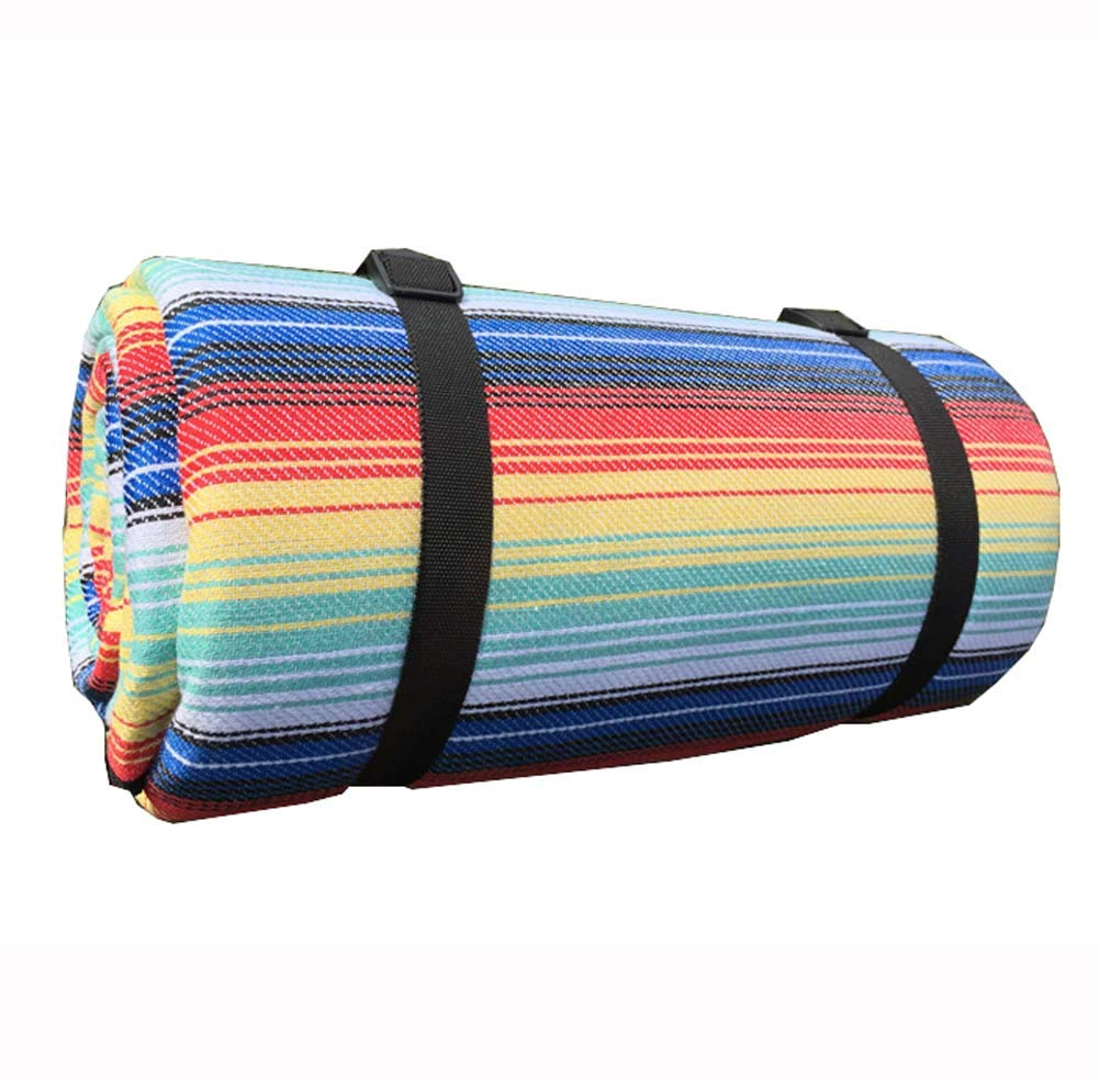 DADAO Picnic Mat Camping Beach Blanket,Picnic Blanket Waterproof Extra Large Washable-for Music Festival, Hiking, Camping,Rainbowstrip,200x300