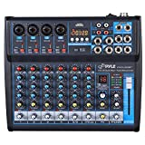 Professional Audio Mixer Sound Board Console Desk System Interface 8 Channel Digital USB Bluetooth MP3 Computer Input 48V Phantom Power Stereo DJ Studio FX 16-Bit DSP processor- Pyle PMXU83BT