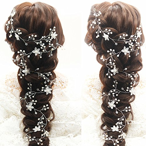 Kercisbeauty Long Bridal Hair Vine Flower Vintage Hair Piece Crystal Headpiece Bohemian Headband Halo Crystal Ornament Wedding Hair Vine 39.4 Inches