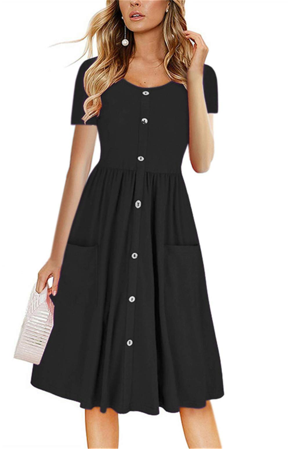 LAMISSCHE Womens Summer Casual Short Sleeve V Neck Button Down A-line Dress with Pockets(Black,M) by LAMISSCHE