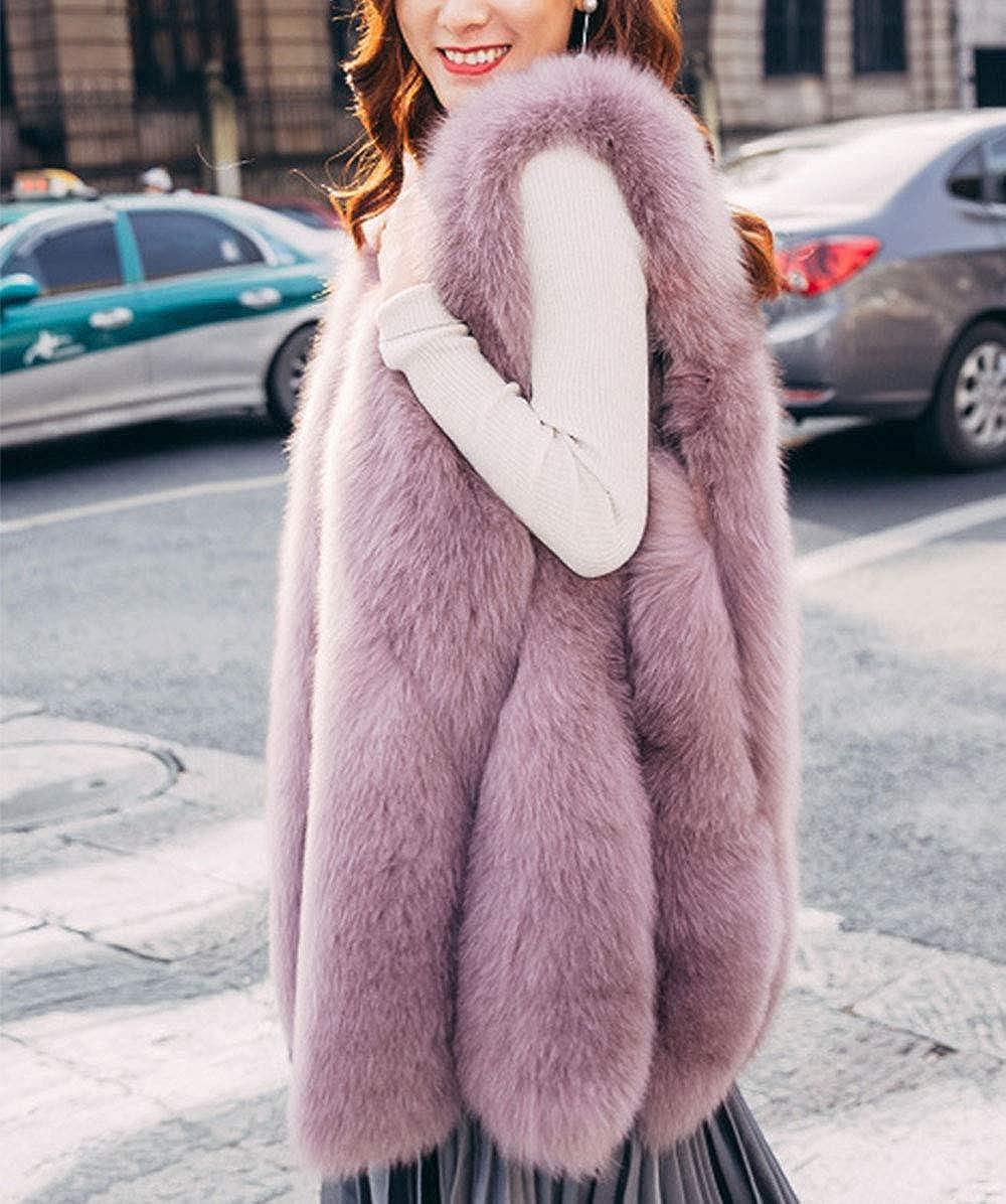 HIENAJ Womens Winter Faux Fur Warm Vest Fashion Sleeveless Fluffy Long Gilet Waistcoat