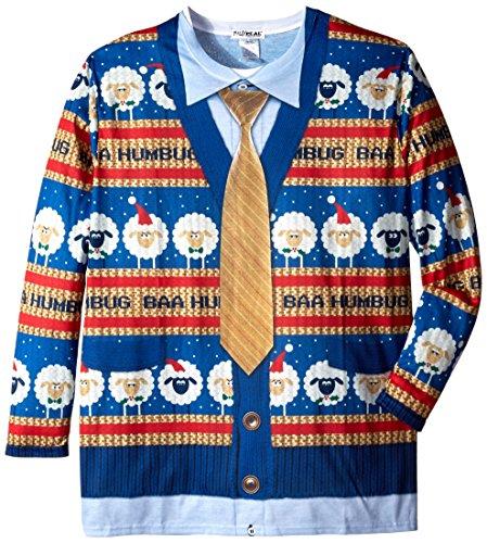 Faux Real Men's Big-Tall Baa Humbug Sweater Long Sleeve T-Shirt, Multi, 1X-Large/Big