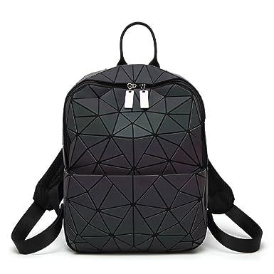 5399528b8eb34 Mode Damen Faltende Leuchtende Tasche Chaos Dreieck Rucksack Matt  Geometrische Nähte Lingge Tasche Handtasche