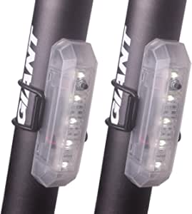 FUNSPORT 2PACK USB Rechargeable LED Safety Light Bike Taillight - Ultra Bright Bicycle Rear Light Fits On Any Mountain Bikes, Road Bicycle & Helmets - Easy to Install for Cycling Safety