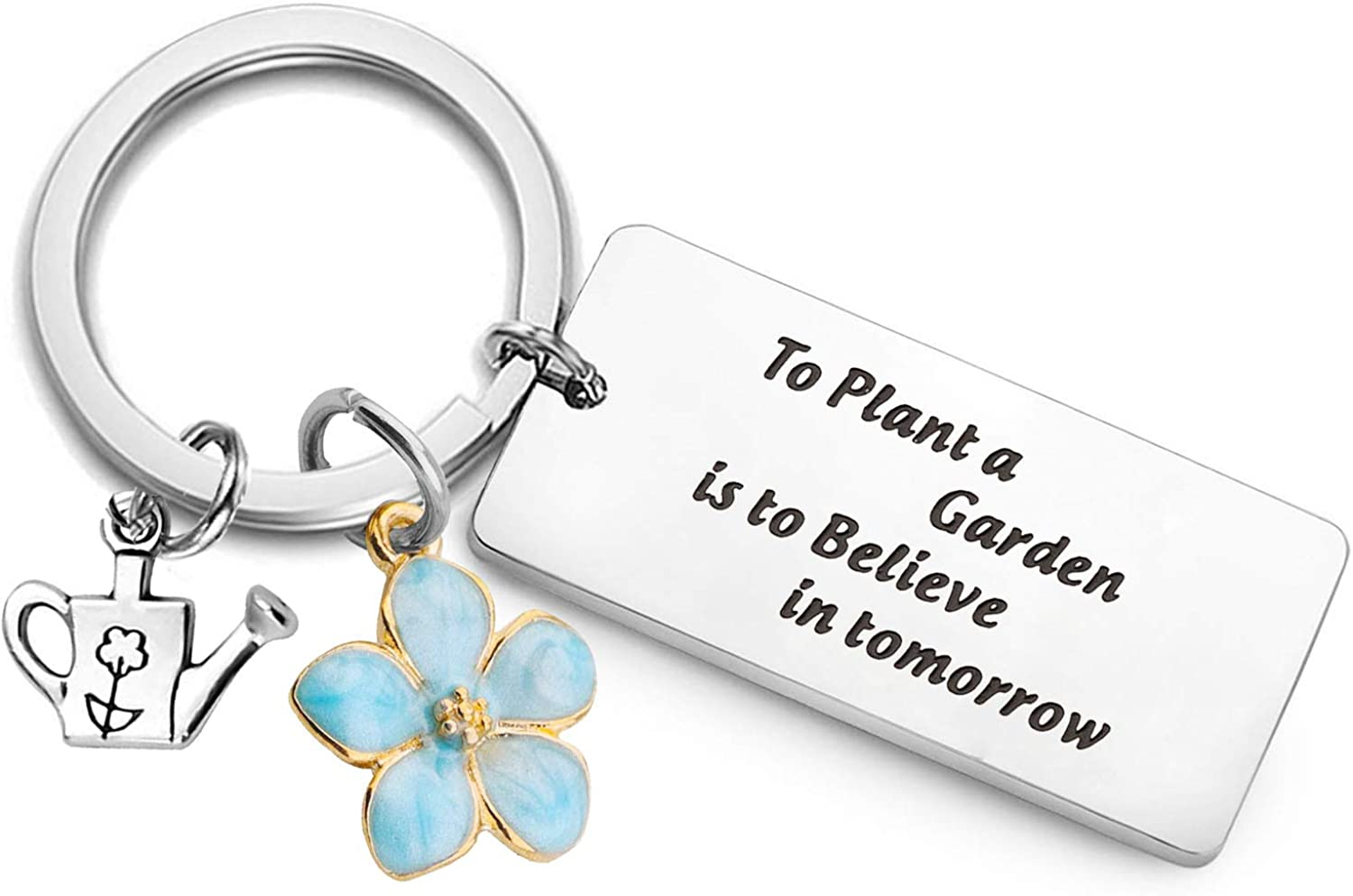 PLITI Gardener Gift Gardener Keychain to Plant A Garden is to Believe in Tomorrow Flower Charm Plant Lover Gift for Florist