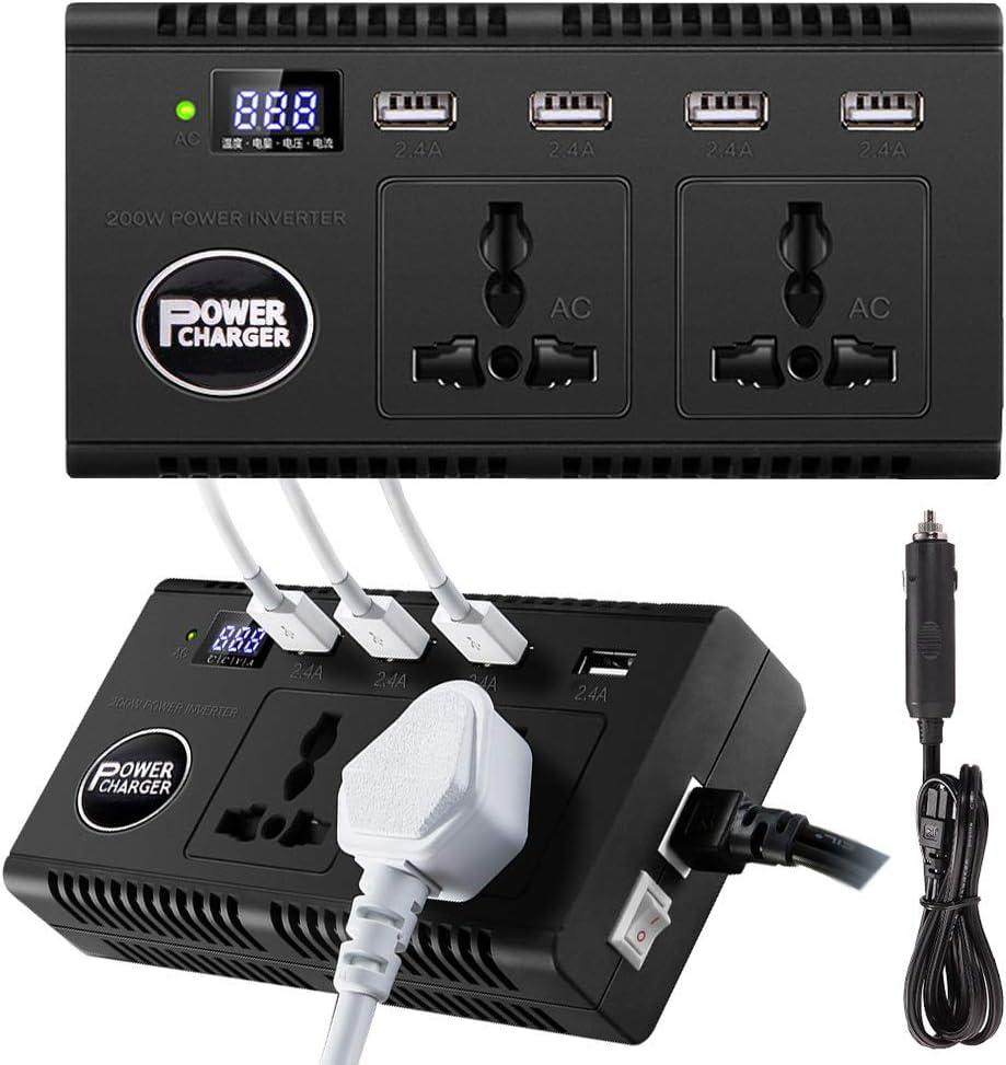 200W Inversor de Corriente Convertidor de Voltaje DC 12v 24v a AC 220v Adaptador de Cargador para Coche con 3 AC Tomas 4 Salidas USB para Móviles Tabletas Cámara