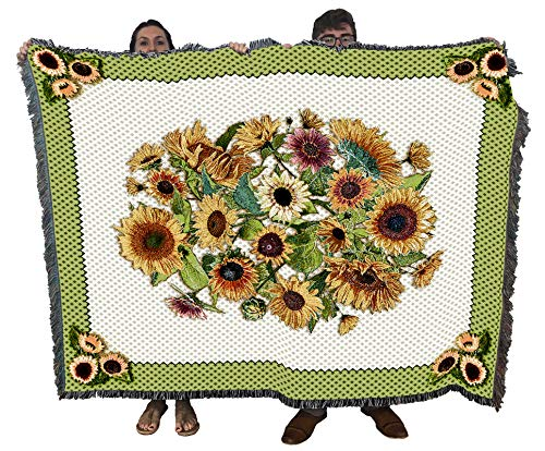 Pure Country Weavers - Sunflower Garden Flower Woven Woven Woven Large Soft Comforting Throw Blanket with Artistic Textured Design Cotton USA 72x54 from Pure Country Weavers