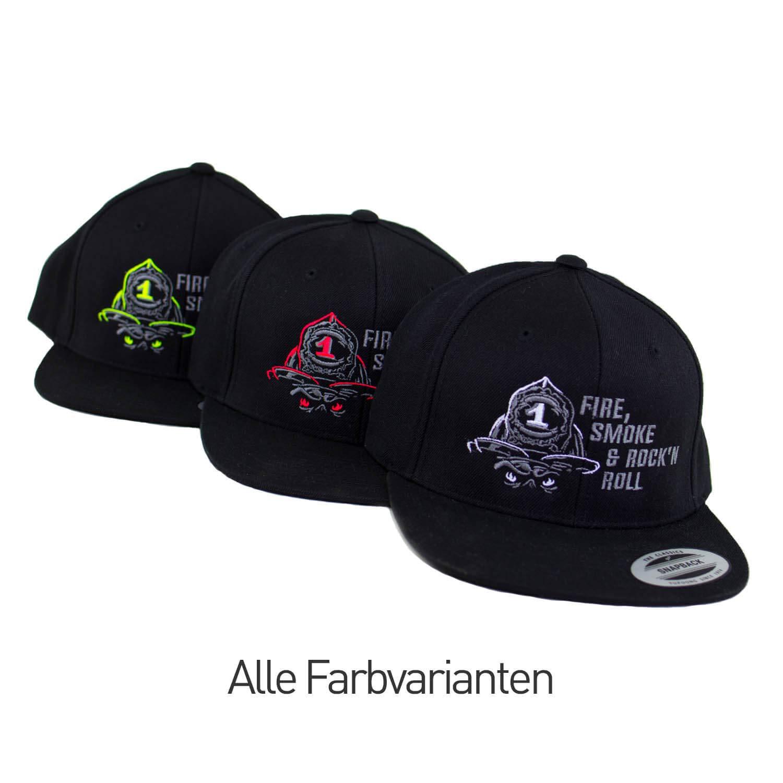 Firefighter Snapback Cap FIRE Smoke /& Rock/´n ROLL Neongelb Einheitsgr/ö/ße verstellbar