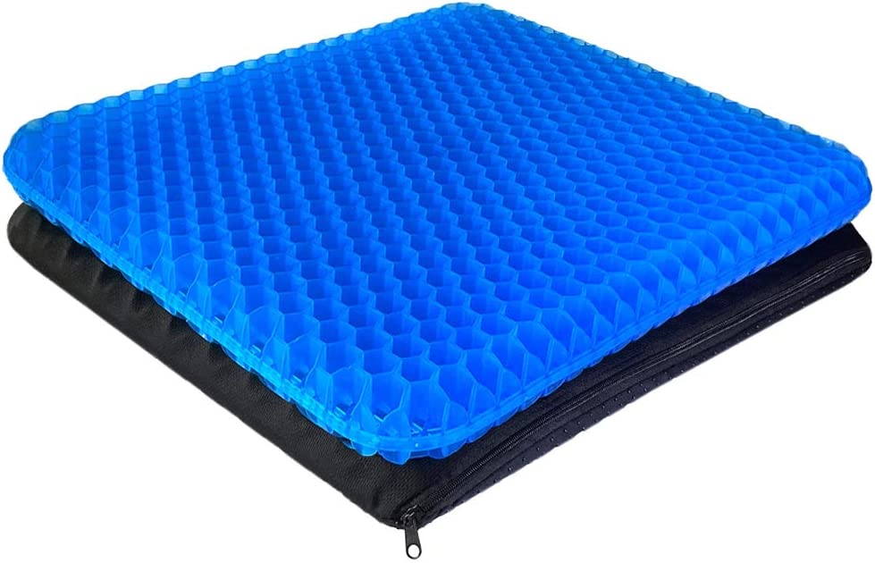 Gel Seat Cushion - Enhanced Double Thick Egg Seat Cushion with Non-Slip Cover - Office Chair Car Seat Cushion - Sciatica & Back Pain Relief - Perfect for Office Chair Car Wheelchair Travel