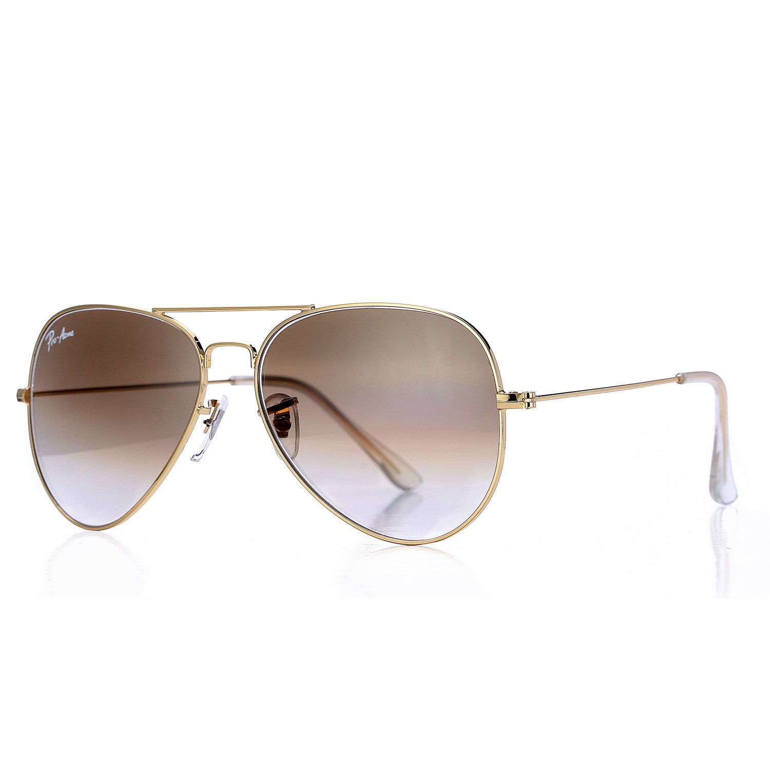 Pro Acme Aviator Crystal Lens Large Metal Sunglasses (Gold Frame/Crystal Brown Gradient Lens) by Pro Acme