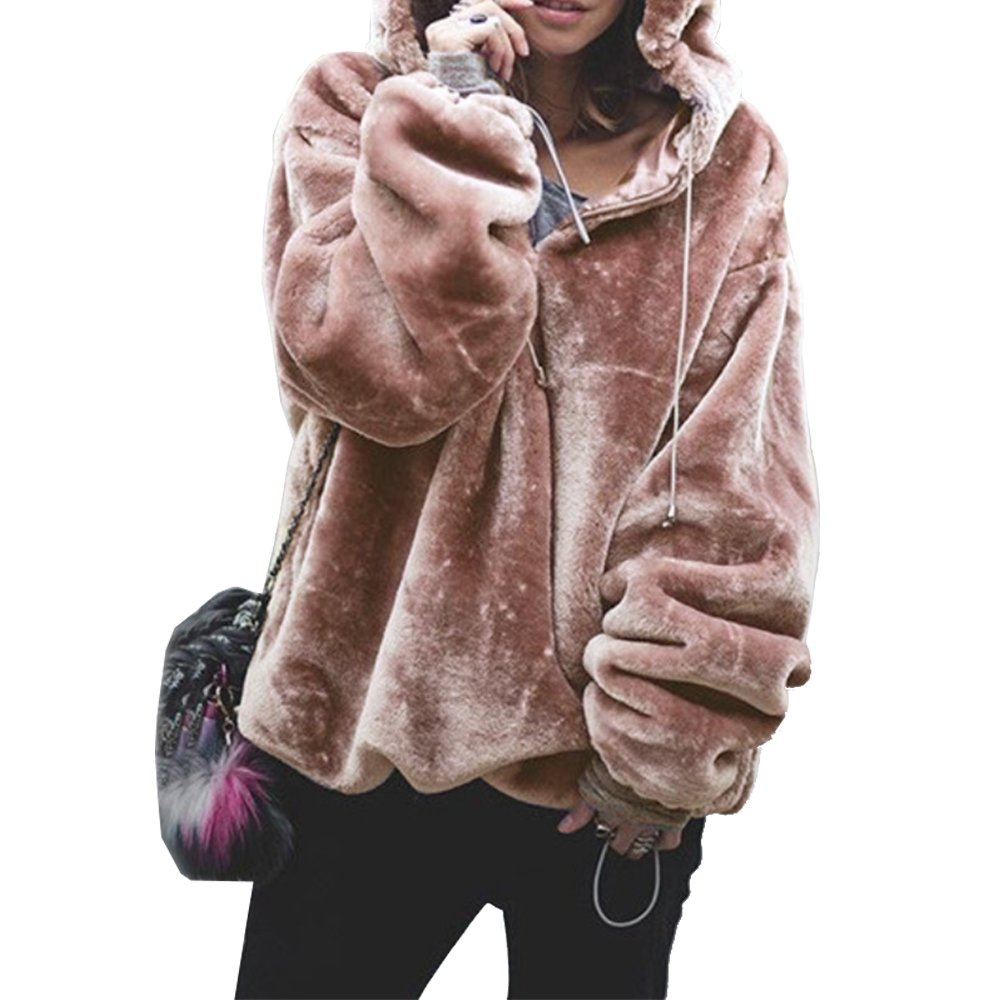 PRETTYGARDEN Women's Oversized Long Sleeves 1/4 Zip Fuzzy Fleece Winter Hooded Pullover Coat Outwear (Dark Pink, Small)