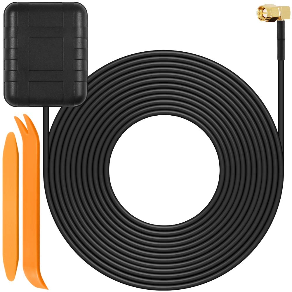 GPS Active Antenna with 5 Meters Cable for In-Dash Navigation Receiver, SourceTon SMA Male Plug Aerial Connector for Car DVD GPS Head Unit Stereos, BONUS 2 pcs of No-Scratch Auto Trim Removal Tool Kit