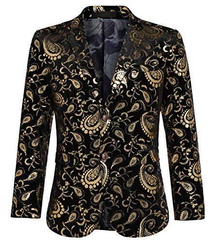 WULFUL Men's Luxury Casual Dress Floral Suit Notched Lapel Slim Fit Stylish Blazer Jacket Party Coats ()