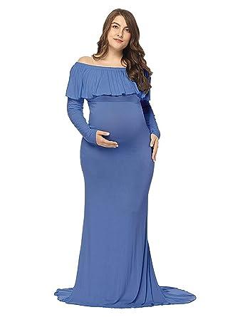 WHITNEY Vestido De Maternidad Vestido De Fotografía De Mujer Embarazada De Manga Larga: Amazon.es: Ropa y accesorios