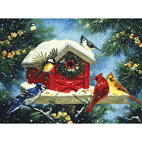Bits and Pieces - 300 Large Piece Jigsaw Puzzle for Adults - Christmas Bird Feeder - 300 pc Snowy Winter Scene Jigsaw by Artist Linda Picken