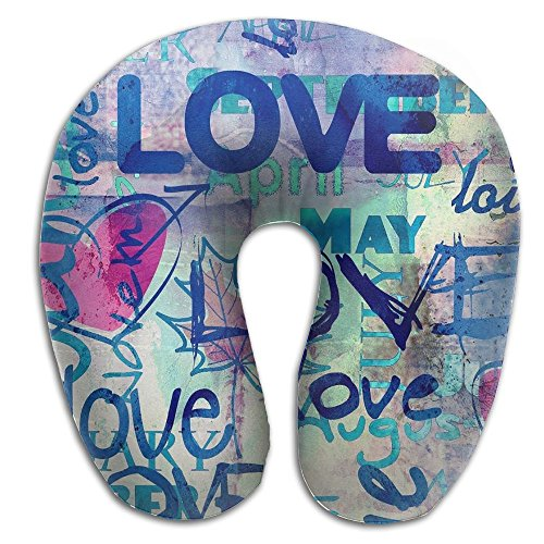 Creative Graffiti Love Background Design Comfortable U Shaped Neck Pillow Soft Neck Support Pattern Pillow For Rest,Travel,Car,Airplane,Bed,Sofa (Creative Bath Graffiti)