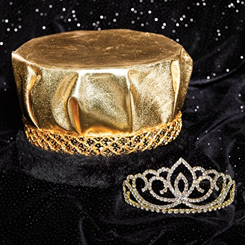 Royal Couple Set, 2 1/4 inch High Gold Sasha Tiara and Metallic Gold Crown with Black Fur ()