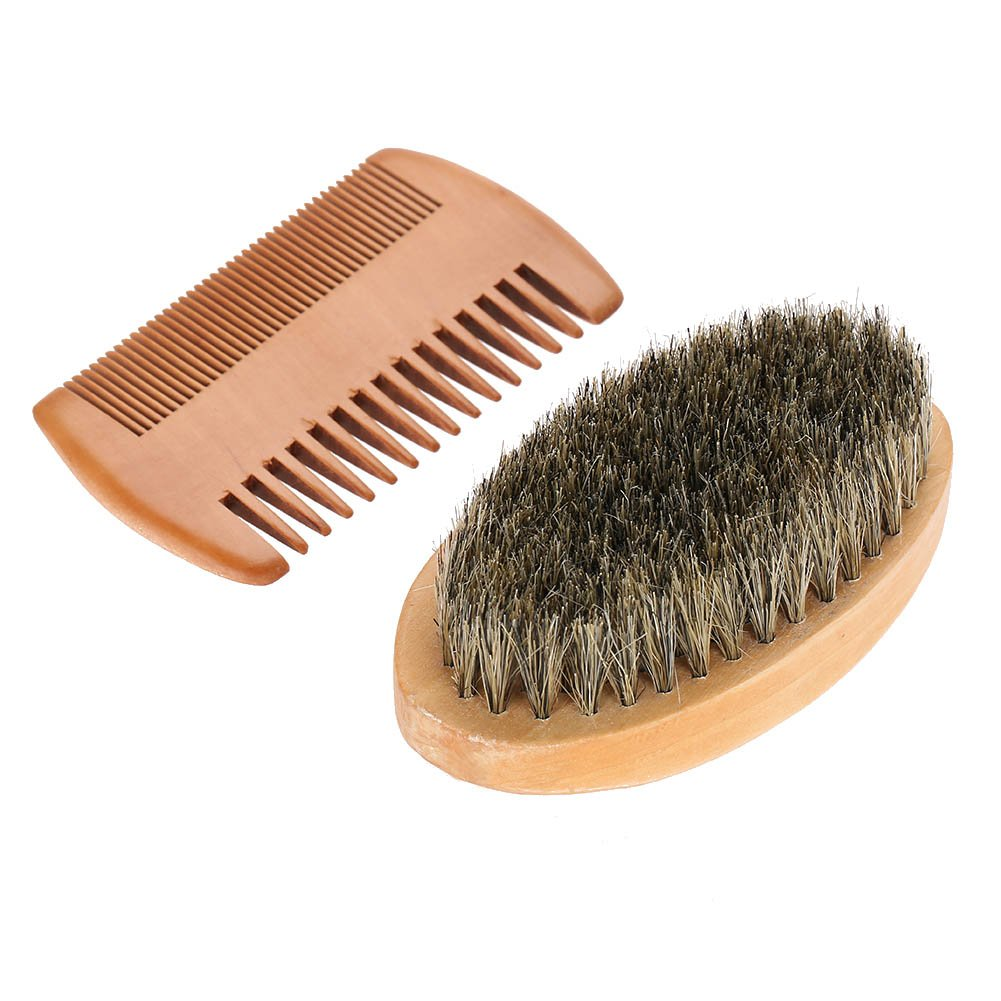 Beard Brush and Comb Set for Men Grooming Trimmer Kit Soft Bristle Brushes and Wood Comb Shaping Tool Helps Softening and Conditioning Mustaches Sonew