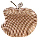 Fawziya Apple Shape Purse Brand Bags For Girls Handmade Clutches-Gold