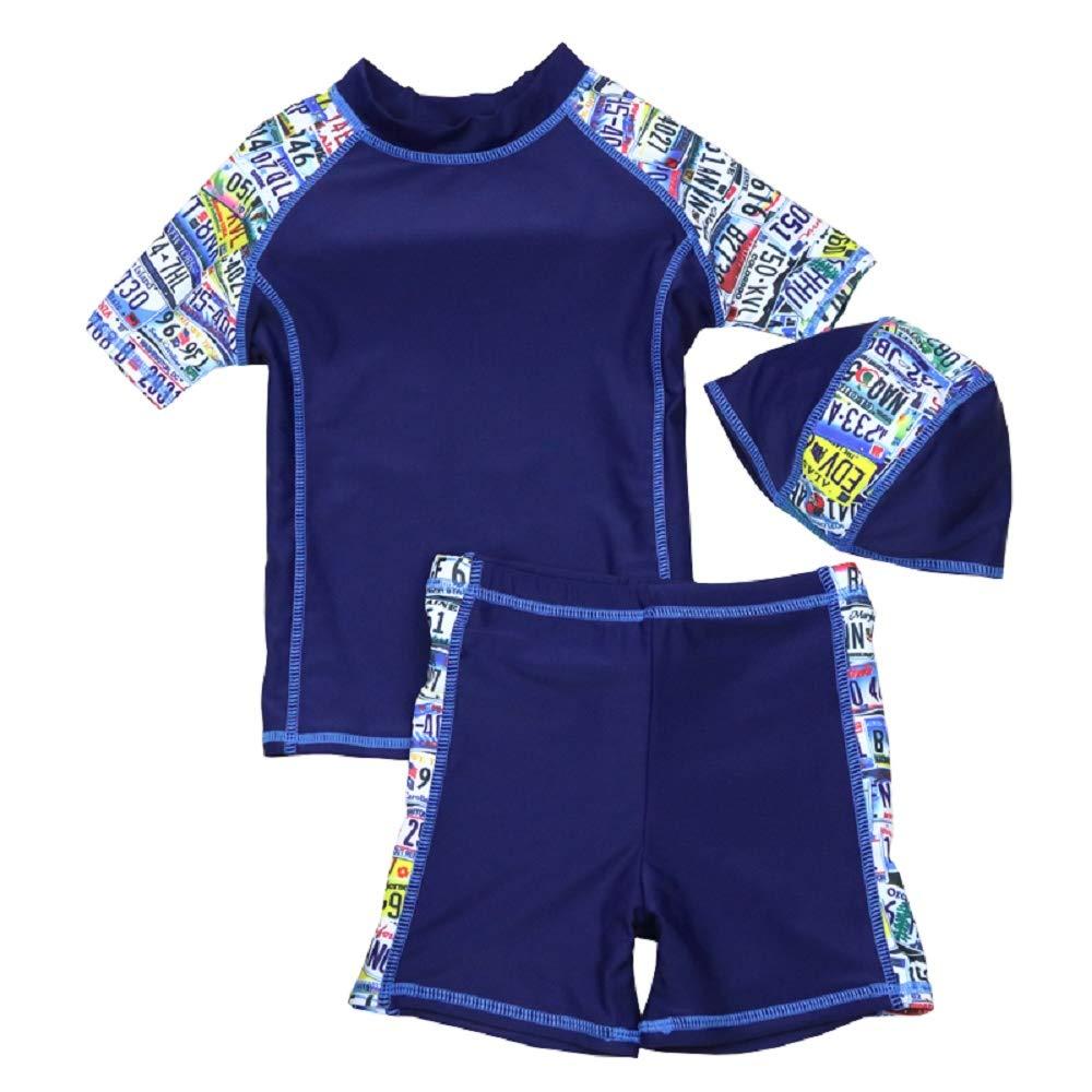 Yunqir Kids Wetsuit 3 Pcs/Set Children's Short Spilt Swimsuits Kids Number Printings Sunscreen Wetsuit for Water Sports(Navy)