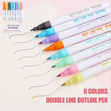 8Pcs//Set Double Liner Outline Pen Writing Drawing Pens Stationery