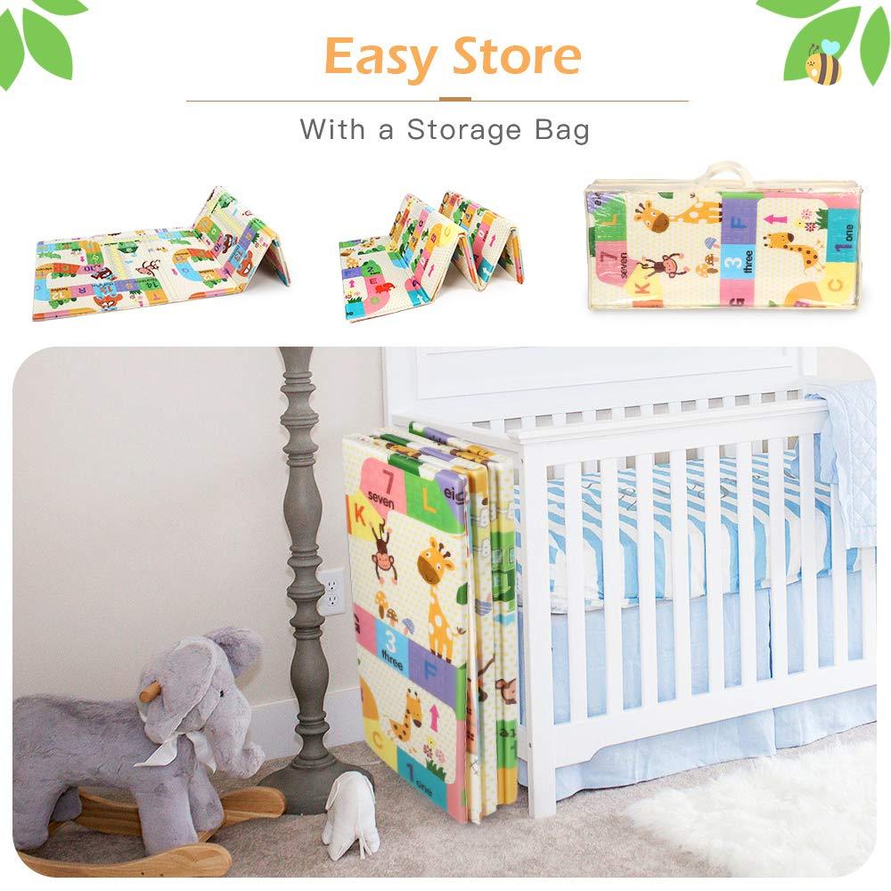 70 x 77.5 x 0.6 Infants Bammax Play Mat Folding Mat Baby Crawling Mat Kids Playmat Waterproof Non Toxic for Babies Toddlers
