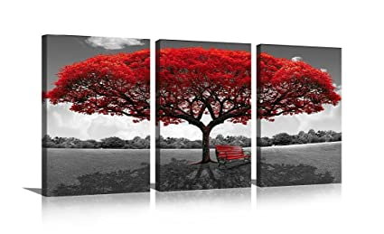 HLJ Art Black and White Pictures Giclee Canvas Prints Red Tree Bench Modern Artwork Wall Décor  sc 1 st  Amazon.com & Amazon.com: HLJ Art Black and White Pictures Giclee Canvas Prints ...