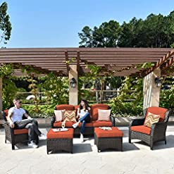 Garden and Outdoor XIZZI Patio Furniture Sets, Outdoor Furniture,All Weather Wicker Patio Set (5PCS, Red) patio furniture sets