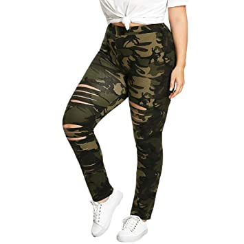 08132d992363e SMILEQ® Fashion Plus Size Womens Camouflage Leggings Trousers Sport Hole  Casual Pants (L,