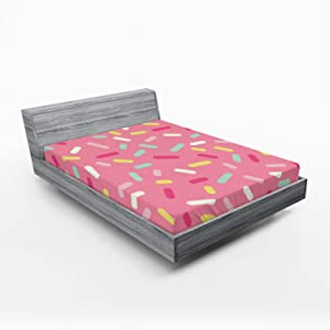 Ambesonne Pink and White Fitted Sheet, Abstract Pattern of Colorful Donut Sprinkles Tasty Food Bakery Theme, Soft Decorative Fabric Bedding All-Round Elastic Pocket, Queen Size, Pink Yellow