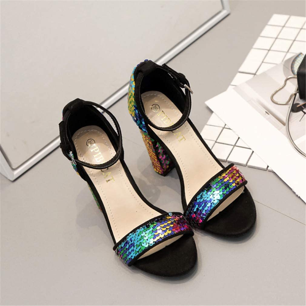 Europe and America Thick Heel Color Sequin Embellishment Artificial PU Comfortable Breathable Sandals High Heels ELEGENCE-Z High-Heeled Sandals