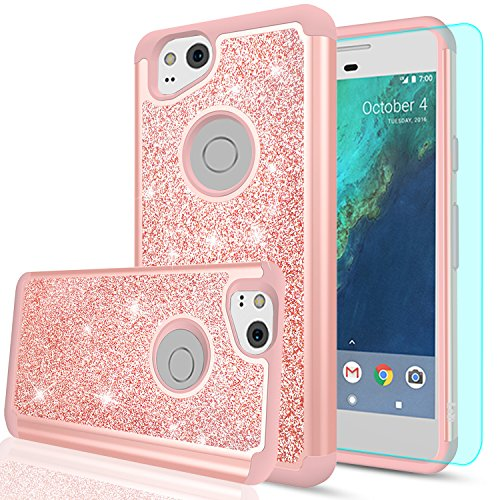 LeYi Pixel 2 Case, Google Pixel 2 Case, Glitter Case with HD Screen Protector,Cute Girls Women Silicon Shockproof Cell Phone Accessories Protective Cover Case for Google Pixel2 TP Rose Rold
