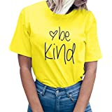 Camisas Mujer Casual,riou Señoras Carta Camiseta de Manga Corta Top Color sólido Estilo Simple Oficinista de Oficina Sudadera Jersey T Shirt Camisola Tops Verano