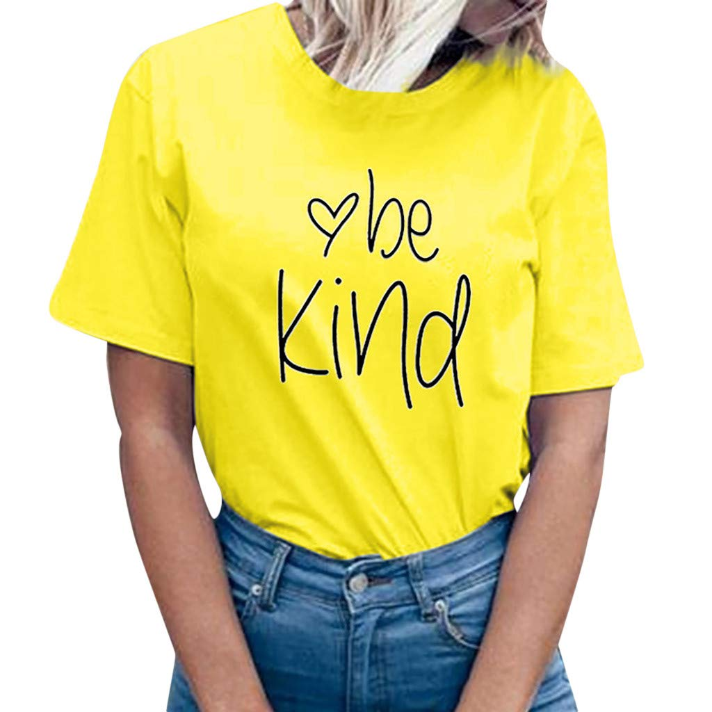 Letter Solid Tops, 2019 QIQIU Womens Summer Short Sleeve be Kind Prints T-Shirt Top Blouse Tee Yellow