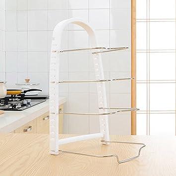 Soporte organizador para armario de cocina, bandeja de almacenamiento de pie y tapa de olla, organizador de almacenamiento de ollas y sartenes, ...