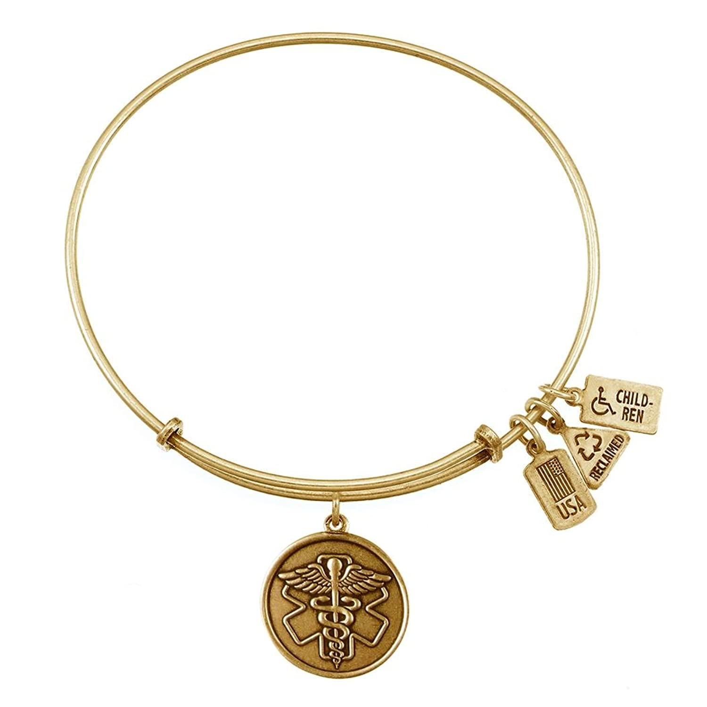 Caduceus/Medical ID Charm Bangle Gold Finish