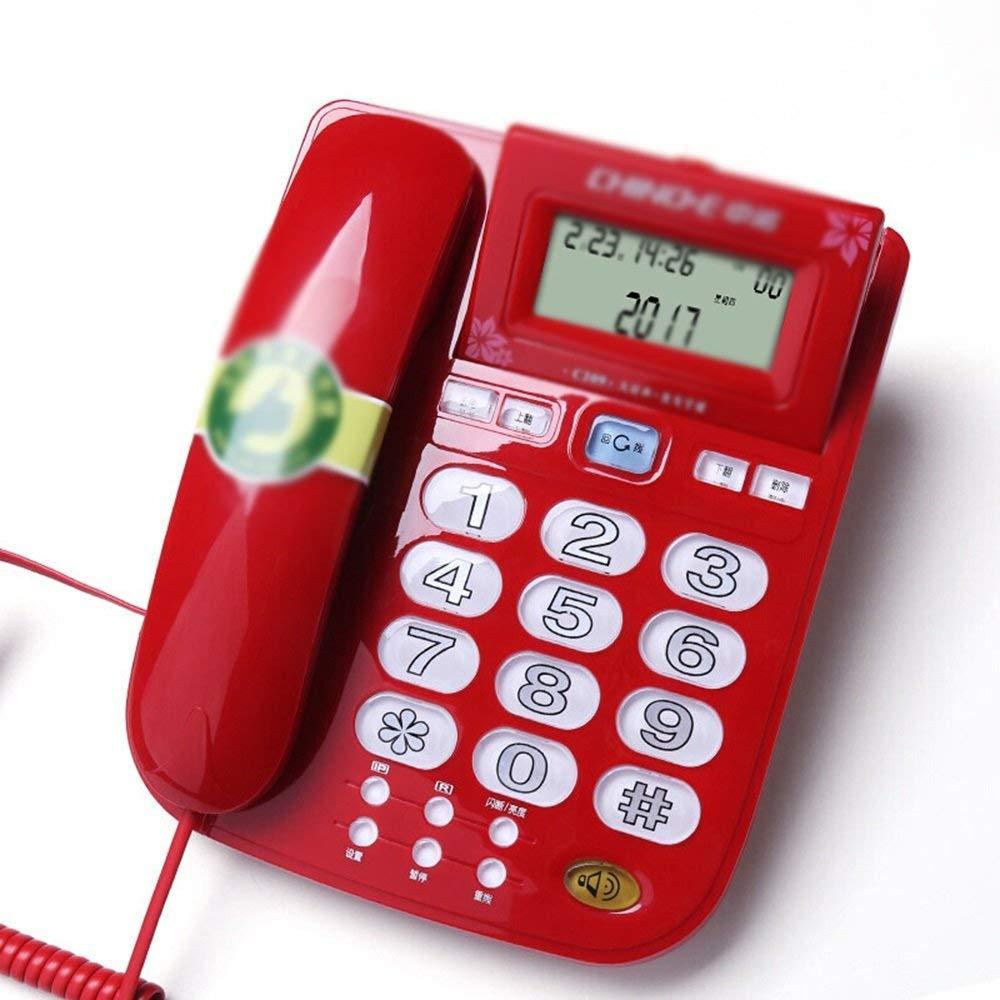Wired telephone Té Lé Phone Fixe Accueil Ancienne Ligne Fixe Sonnerie Forte Sé Lection du Volume Bouton Lumineux Identification De L'Appelant Blanc Bleu Rouge Silk Road