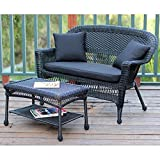 Jeco Wicker Patio Love Seat and Coffee Table Set in Black with Black Cushion Review