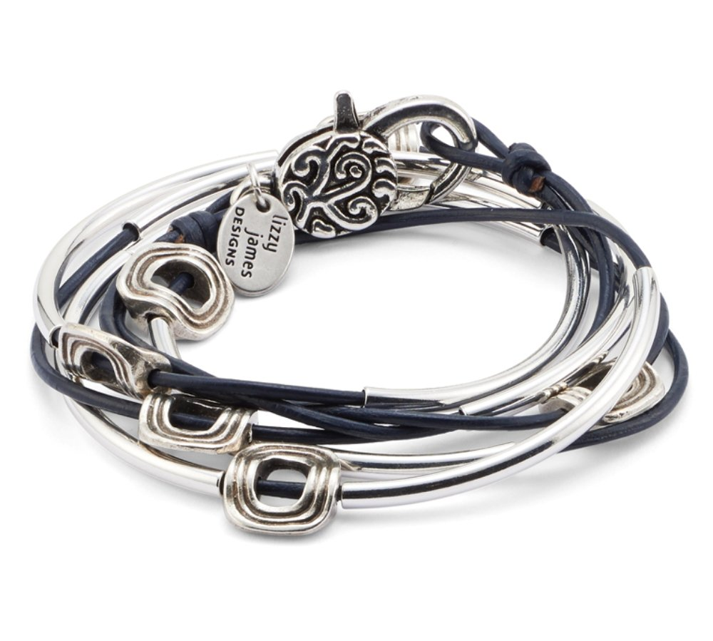 Lizzy James Aura Silverplated 2 Strand Natural True Blue Leather Wrap Bracelet (Small (5 7/8'' - 6 1/8''))