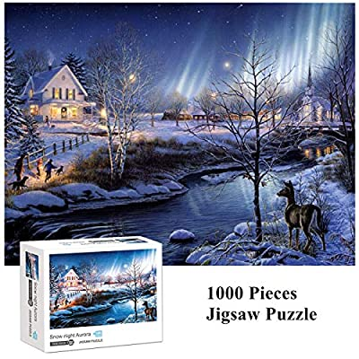 Kadou 1000 Pieces Jigsaw Puzzles Snow Night Aurora, Puzzle for Adults Kids Gift, Landscape Puzzles, Education Puzzles,Jigsaw Puzzle Snow Night Aurora Puzzle 1000 Pieces - 70 x 50cm(27.56 x 19.69inch): Toys & Games